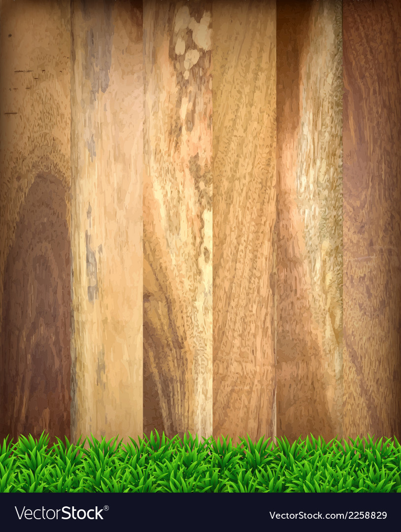 Wooden boards with green grass vector | Price: 1 Credit (USD $1)