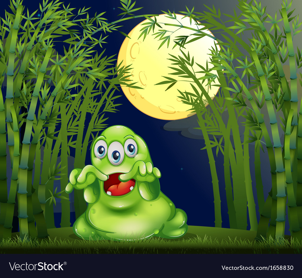 A monster in the middle of the bamboo forest vector | Price: 3 Credit (USD $3)