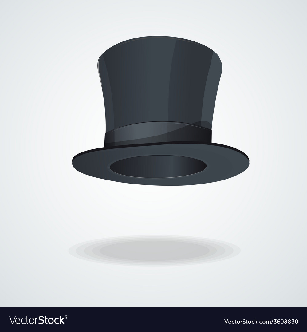 Black top hat on white vector | Price: 1 Credit (USD $1)
