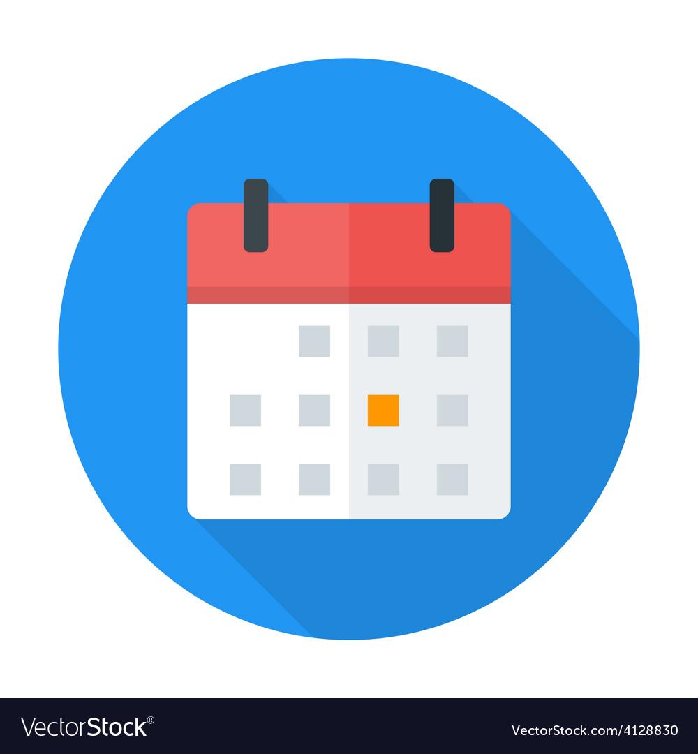 Calendar flat circle icon vector | Price: 1 Credit (USD $1)