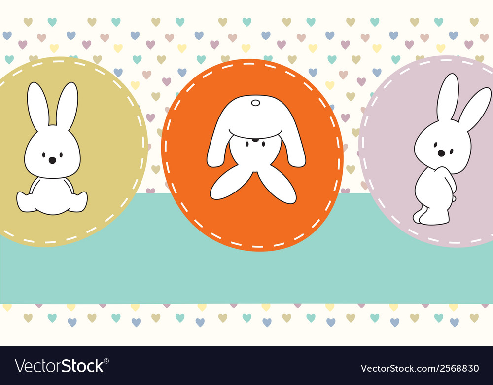 Cute rabbits greeting card vector | Price: 1 Credit (USD $1)