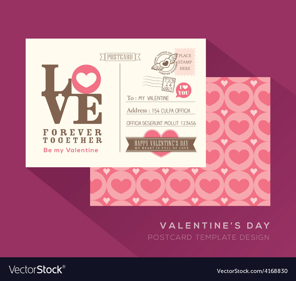 Cute valentine love postcard card design template vector | Price: 1 Credit (USD $1)