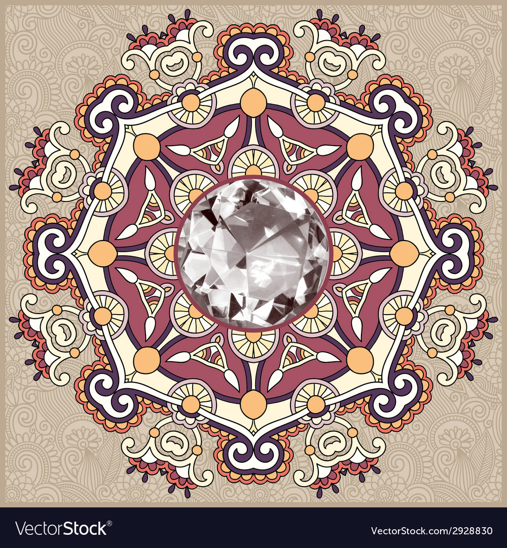 Floral background with diamond jewel vector | Price: 1 Credit (USD $1)