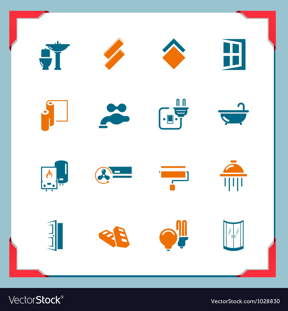 Home renovation icons in a frame series vector | Price: 1 Credit (USD $1)