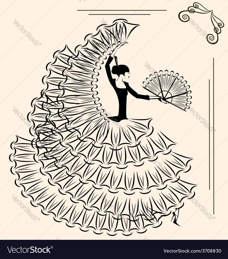 Image of flamenco with fan vector | Price: 1 Credit (USD $1)