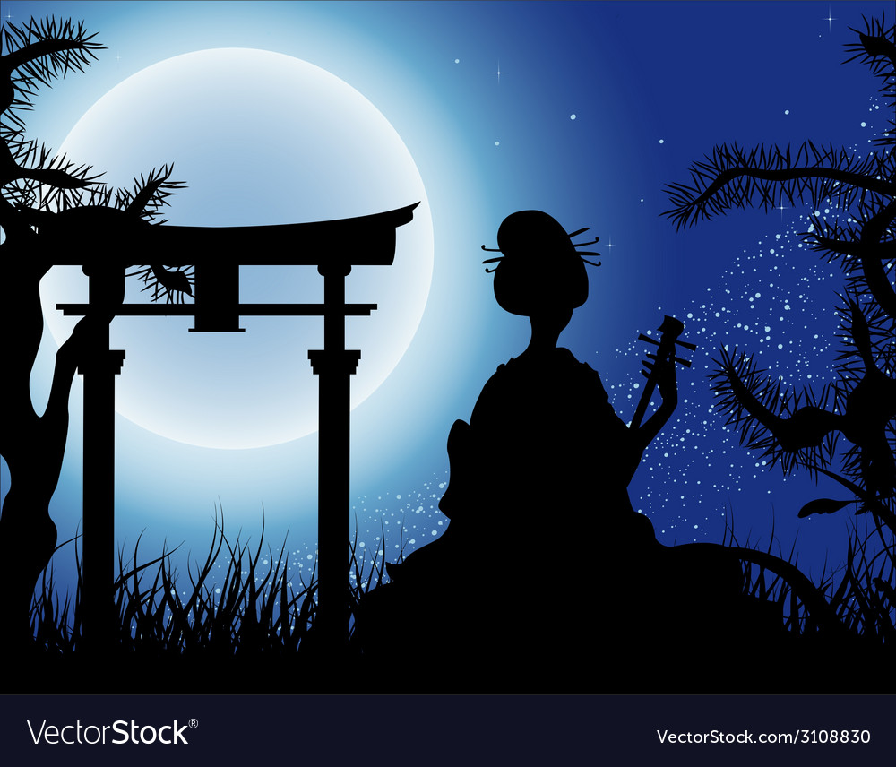 Japanese night geisha with shamisen silhouette vector | Price: 1 Credit (USD $1)