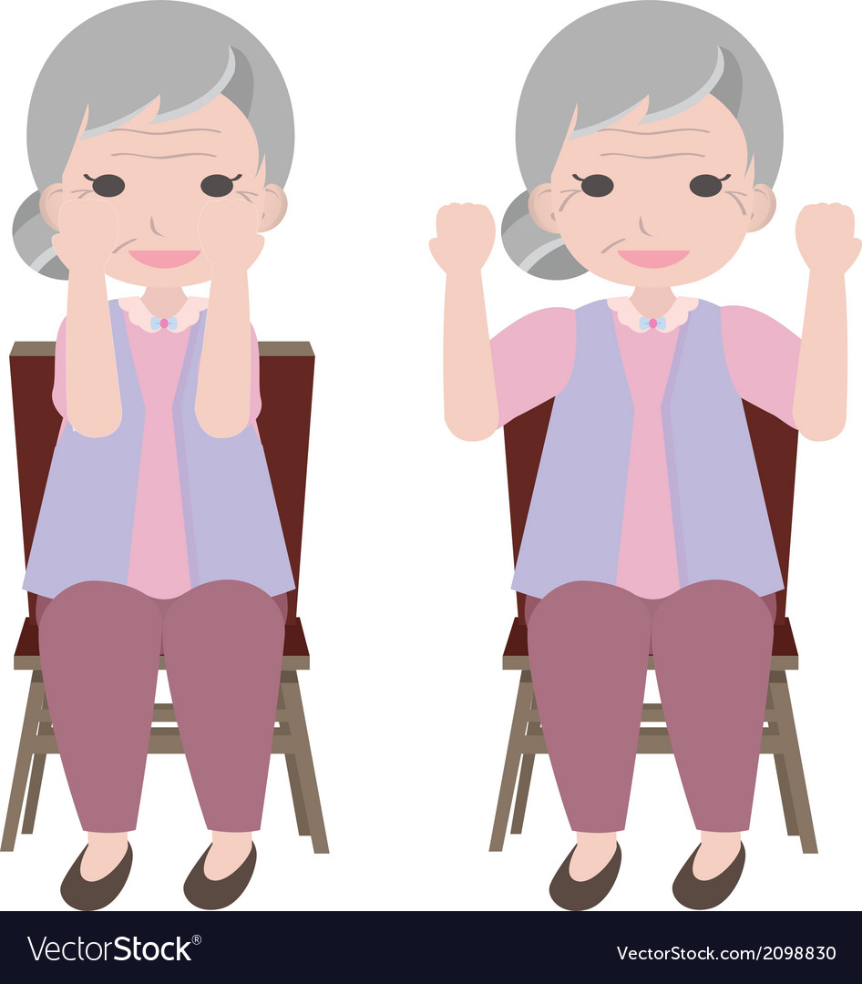 Old woman exercise vector | Price: 1 Credit (USD $1)