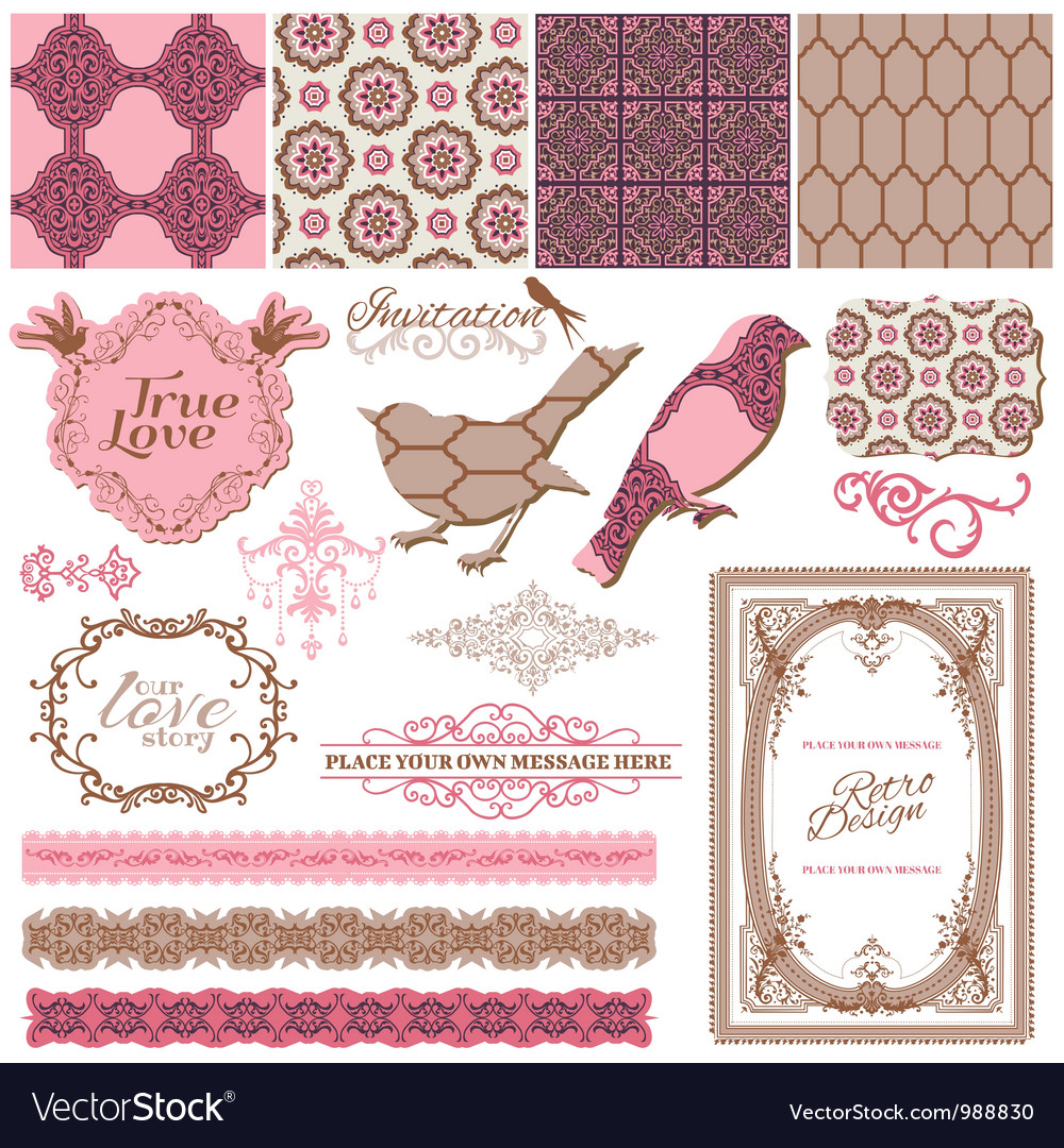 Scrapbook design elements - vintage tiles vector | Price: 1 Credit (USD $1)