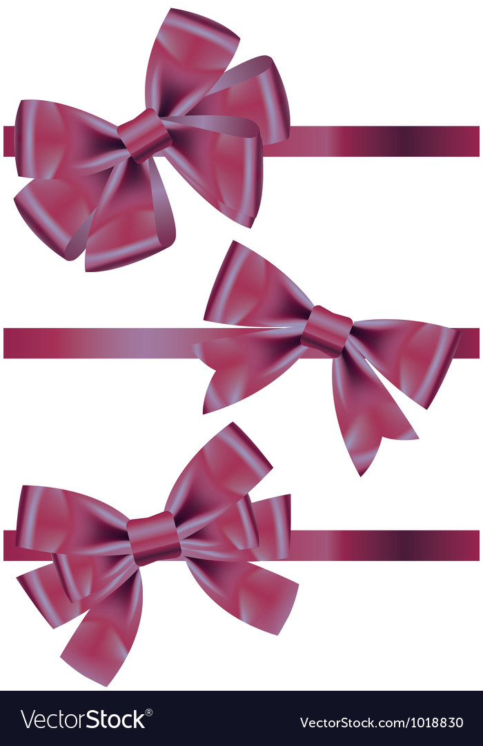 Set of different types of purple satin ribbons vector | Price: 1 Credit (USD $1)