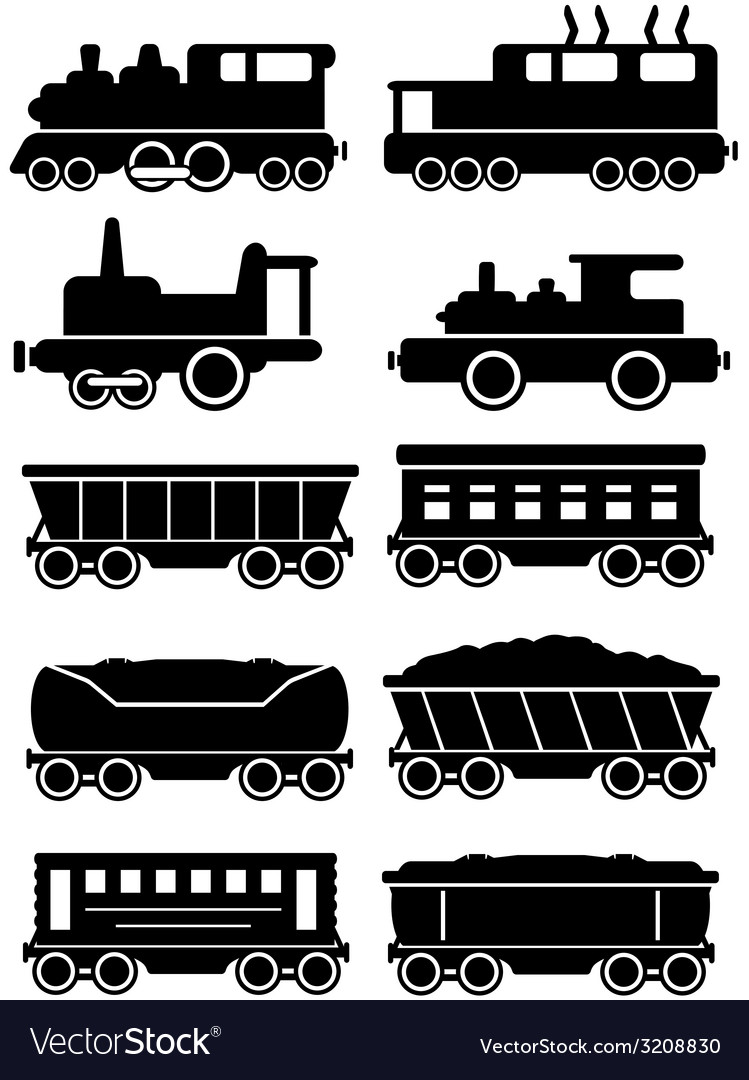 Set trains with freight and passenger car for rail vector | Price: 1 Credit (USD $1)