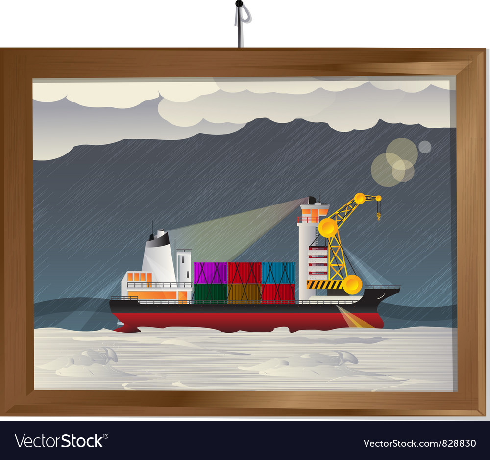 Ship in the storm vector | Price: 1 Credit (USD $1)