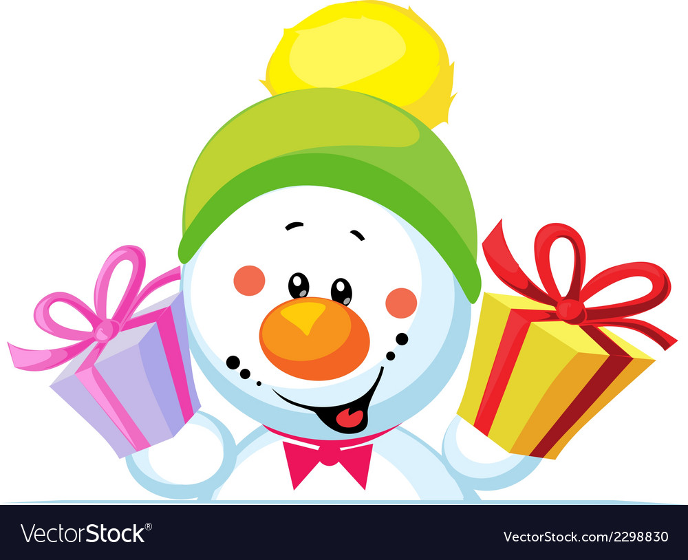 Snowman holding gift peep out through the blank vector | Price: 1 Credit (USD $1)