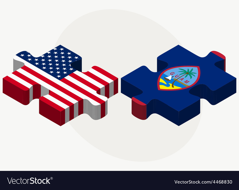 Usa and guam flags in puzzle vector | Price: 1 Credit (USD $1)