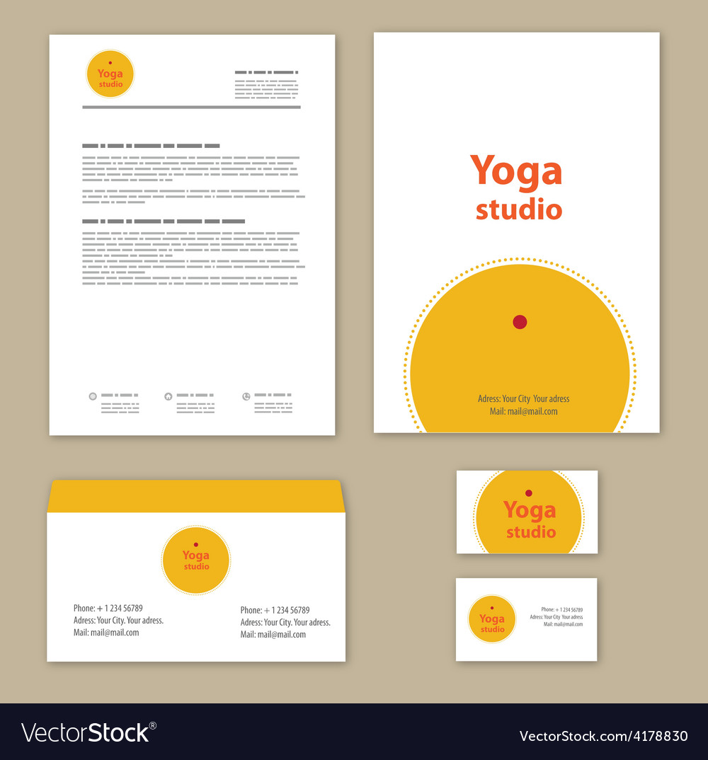 Yoga studio branding set vector | Price: 1 Credit (USD $1)