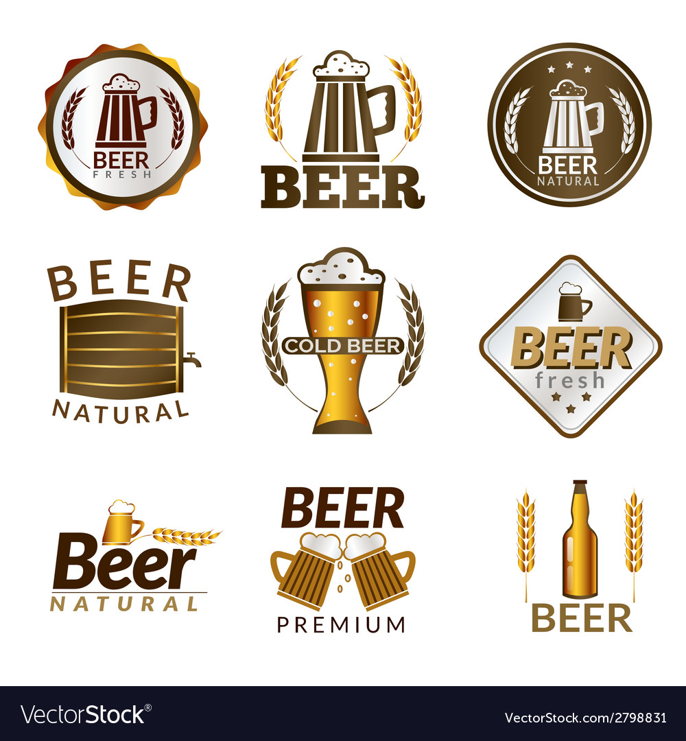Beer golden emblems vector | Price: 1 Credit (USD $1)