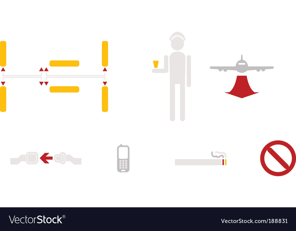 Civil aviation icons vector | Price: 1 Credit (USD $1)