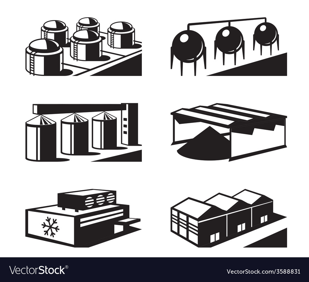 Commercial and industrial warehouses vector | Price: 1 Credit (USD $1)