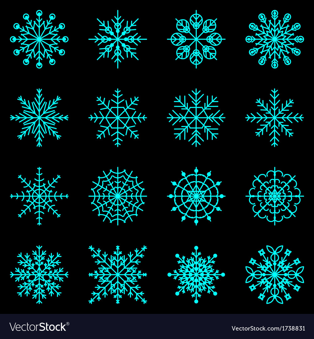 Create snowflake icons on black background vector | Price: 1 Credit (USD $1)