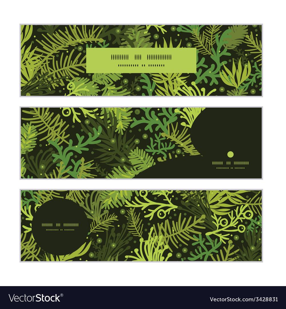 Evergreen christmas tree horizontal banners set vector   Price: 1 Credit (USD $1)