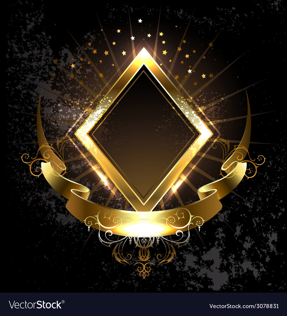 Gold banner rhombus vector | Price: 1 Credit (USD $1)