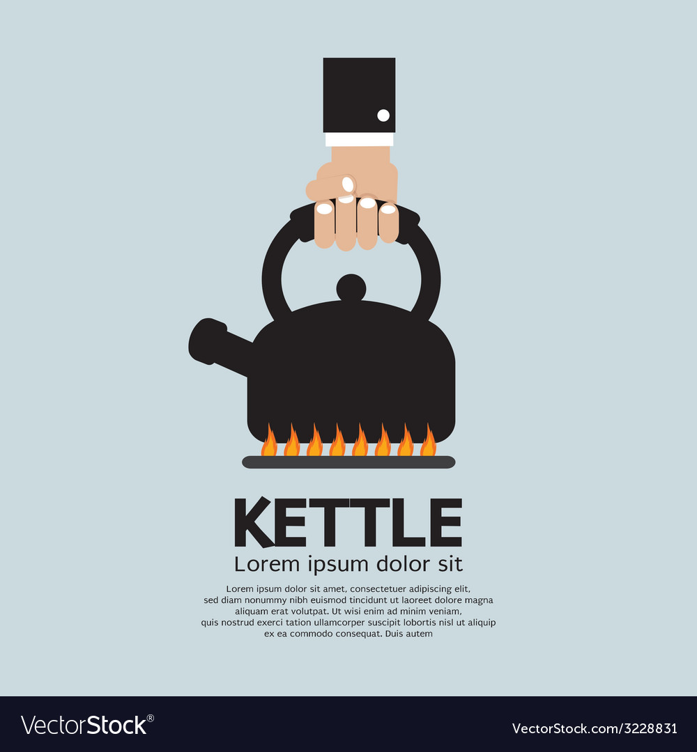 Hand putting a kettle on a fire stove vector | Price: 1 Credit (USD $1)