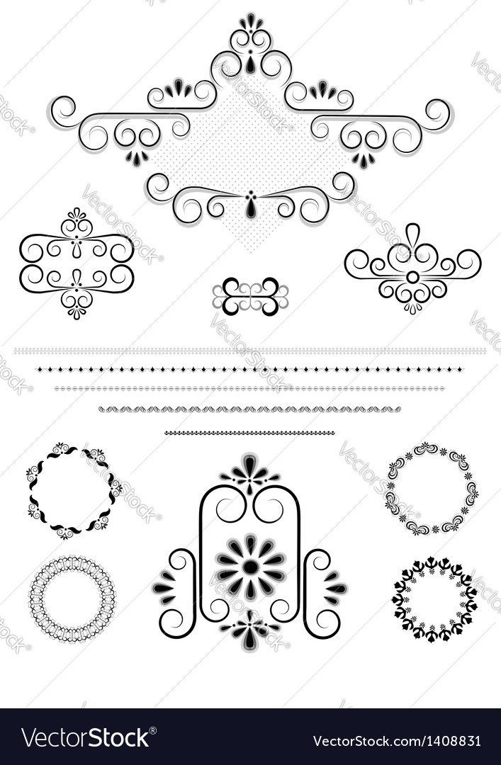 Ornaments and borders for page design vector | Price: 1 Credit (USD $1)