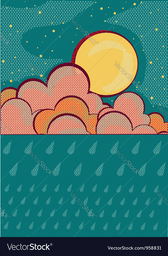 Raining retro nature sky background vector | Price: 1 Credit (USD $1)