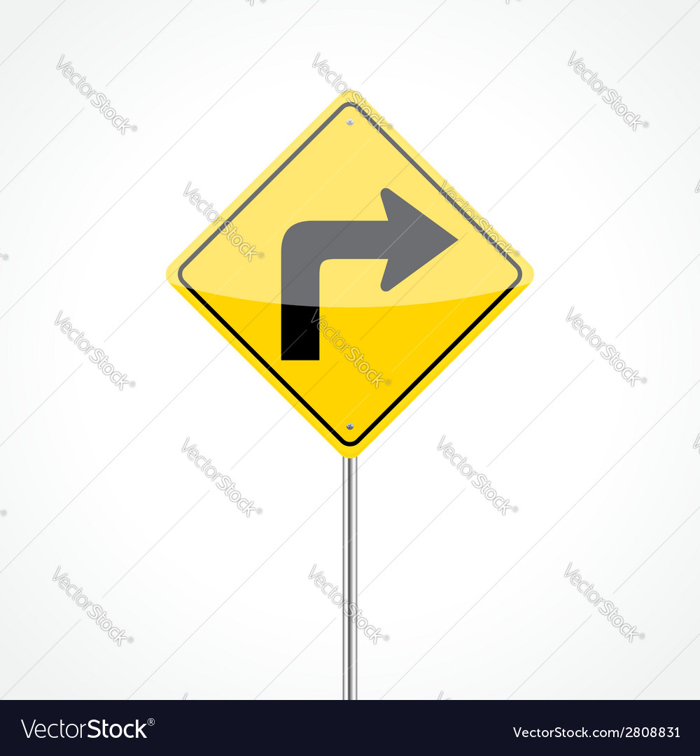 Right turn sign vector | Price: 1 Credit (USD $1)