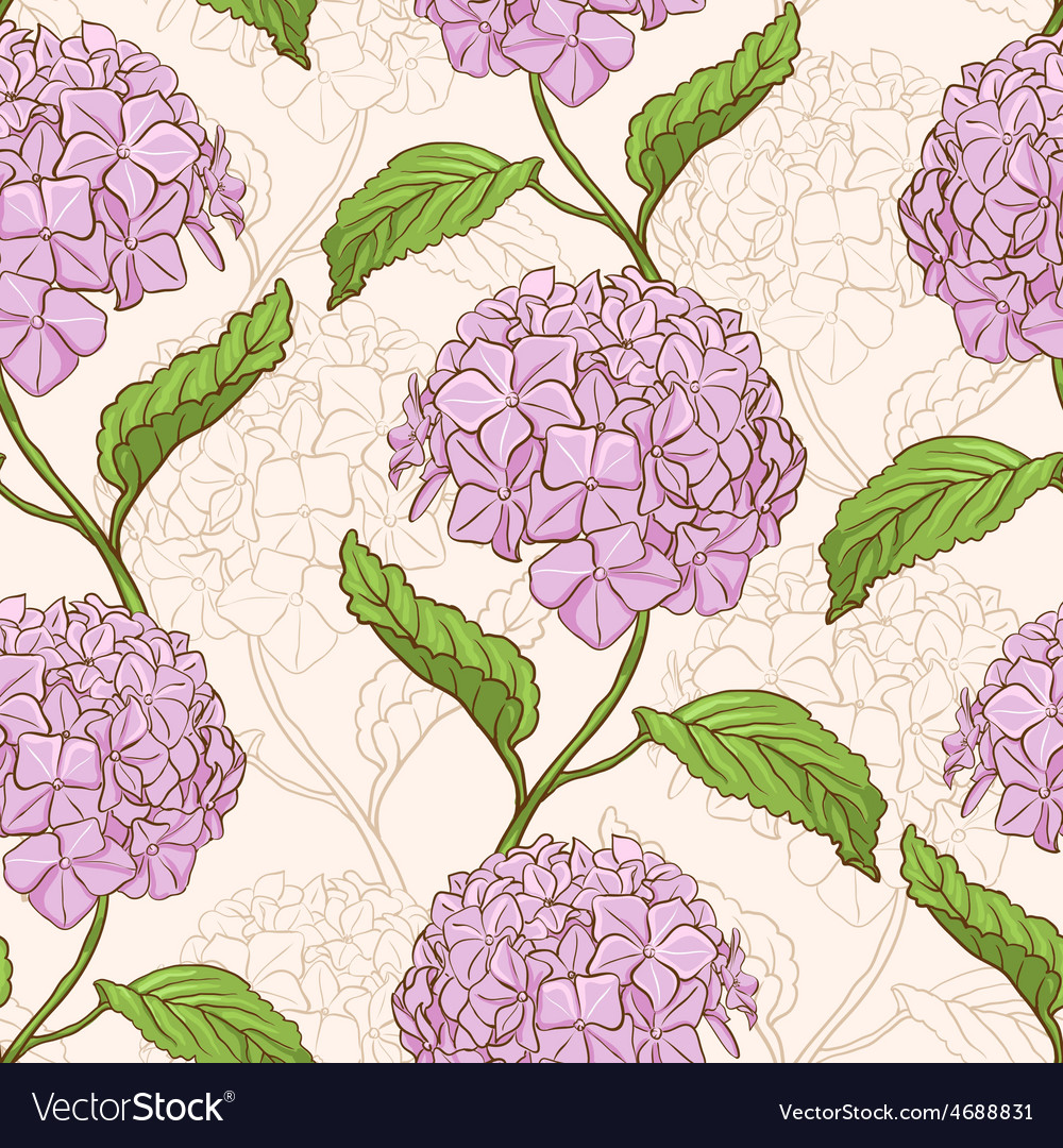 Seamless pattern with hydrangea vector   Price: 1 Credit (USD $1)