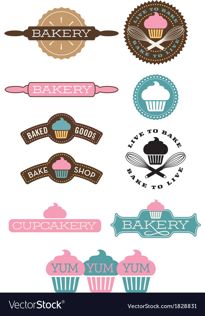 Set of 10 bakery and cupcake designs vector | Price: 1 Credit (USD $1)