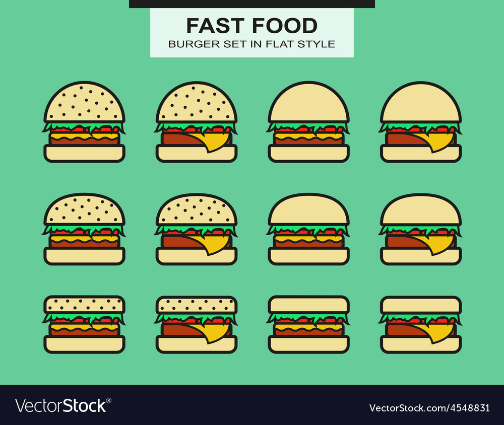 Set of different shape burgers vector | Price: 1 Credit (USD $1)