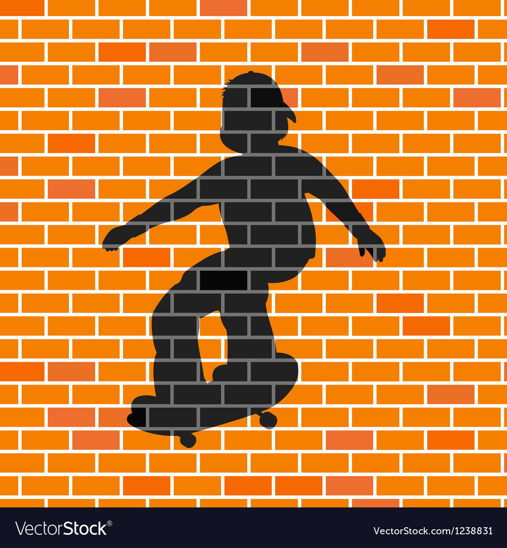 Skater shadow in brick wall vector | Price: 1 Credit (USD $1)
