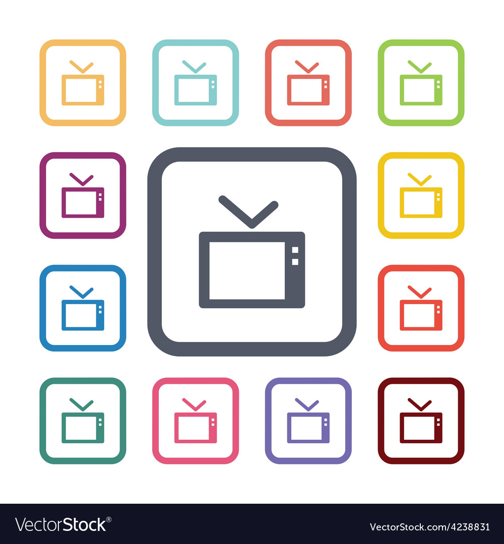 Tv flat icons set vector | Price: 1 Credit (USD $1)