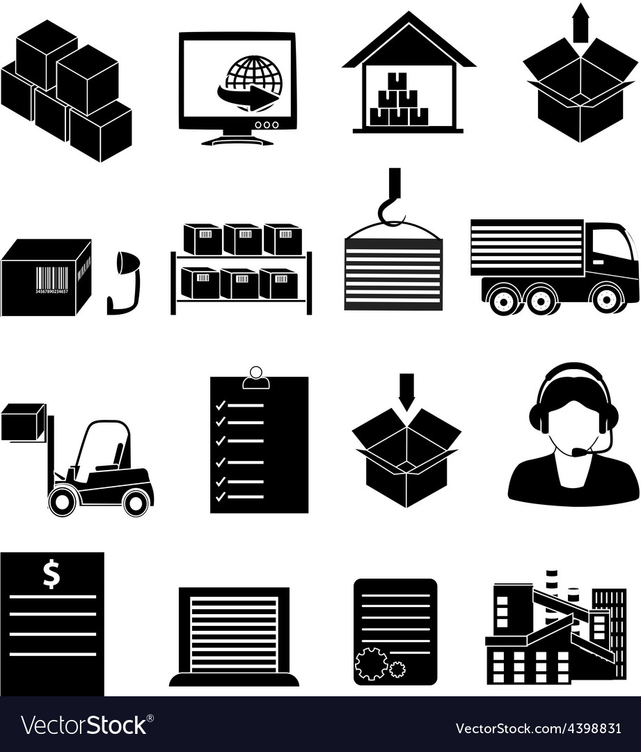 Warehouse logistics icons set vector | Price: 3 Credit (USD $3)