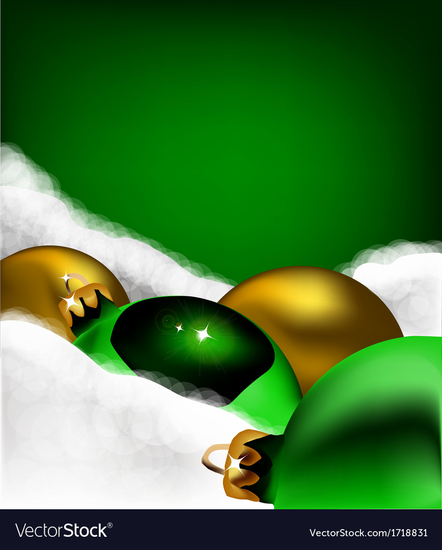 Xmas greeting card christmas gold and green toys vector | Price: 1 Credit (USD $1)