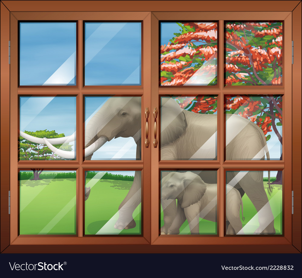 A closed window with a view of the two elephants vector | Price: 1 Credit (USD $1)