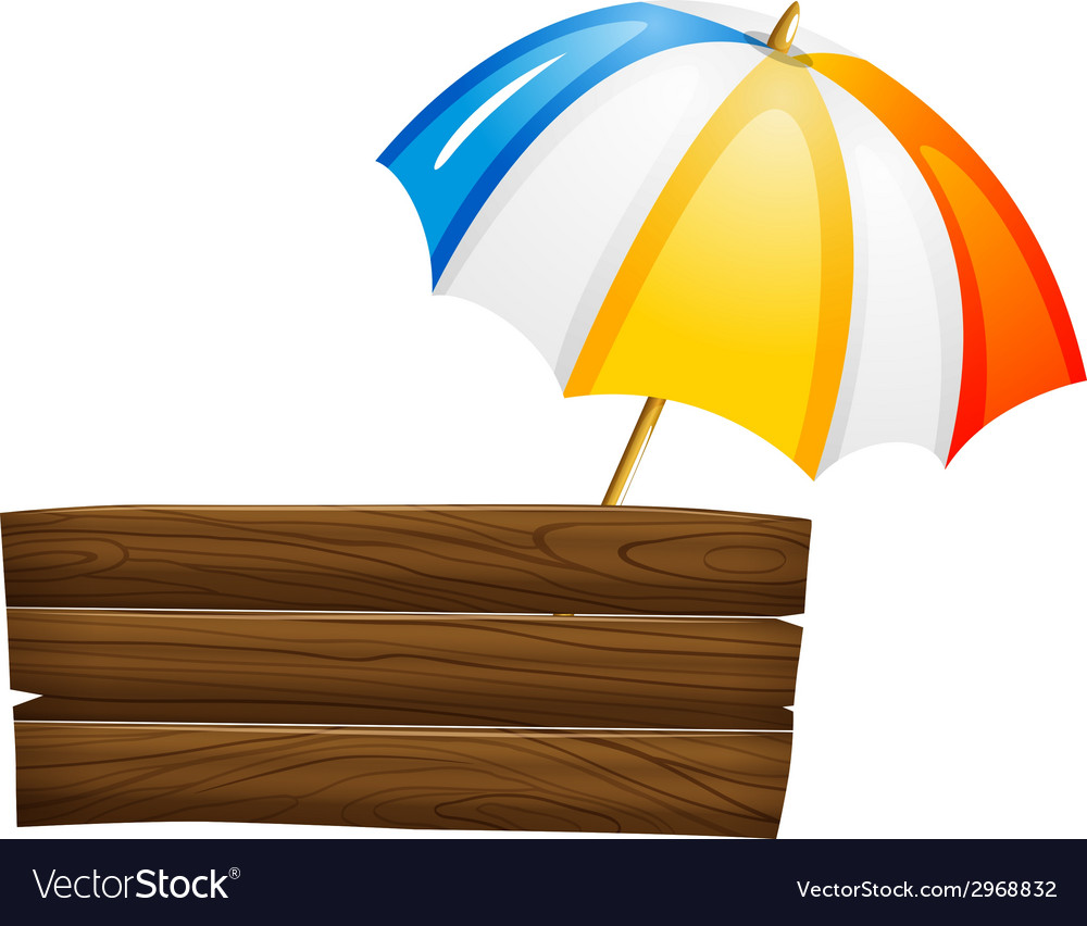 An empty signboard and an umbrella vector | Price: 1 Credit (USD $1)