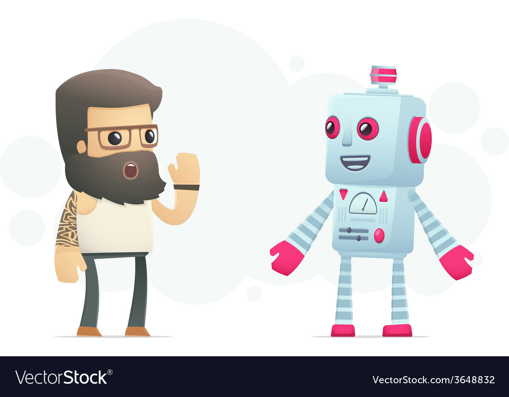 Artist communicates with robot vector | Price: 3 Credit (USD $3)