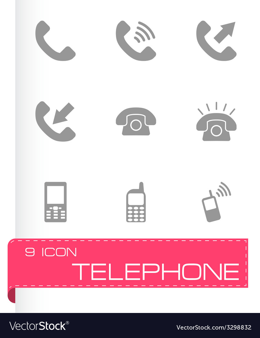Black telephone icon set vector | Price: 1 Credit (USD $1)