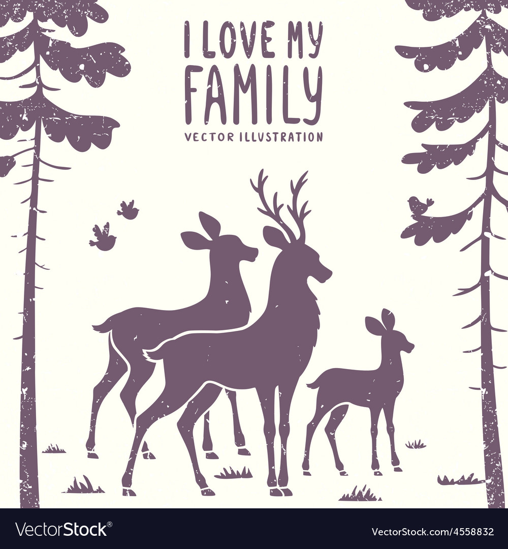 Deer family vector | Price: 1 Credit (USD $1)