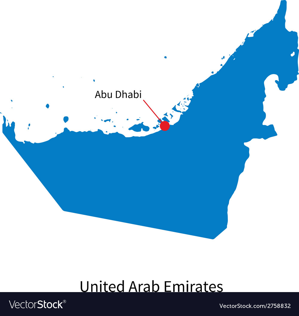 Detailed map of united arab emirates and capital vector | Price: 1 Credit (USD $1)