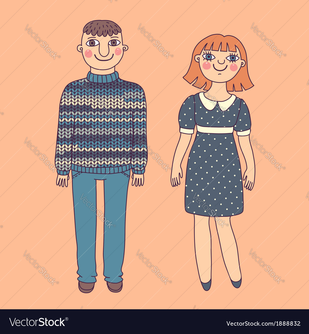 Drawn man and woman young couple vector | Price: 1 Credit (USD $1)