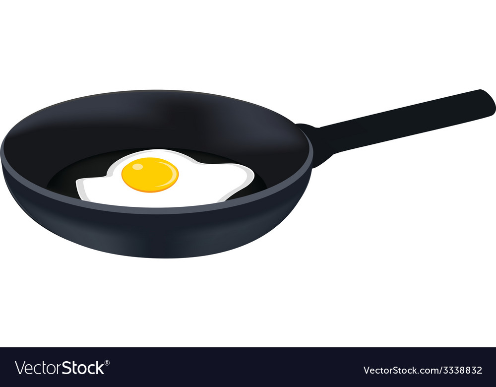 Egg on pan vector | Price: 1 Credit (USD $1)