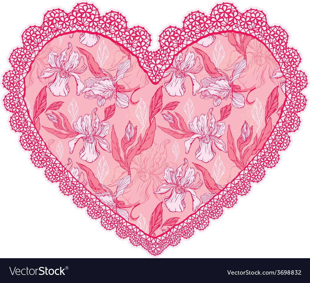 Heart lace pattern 2 380 vector | Price: 1 Credit (USD $1)