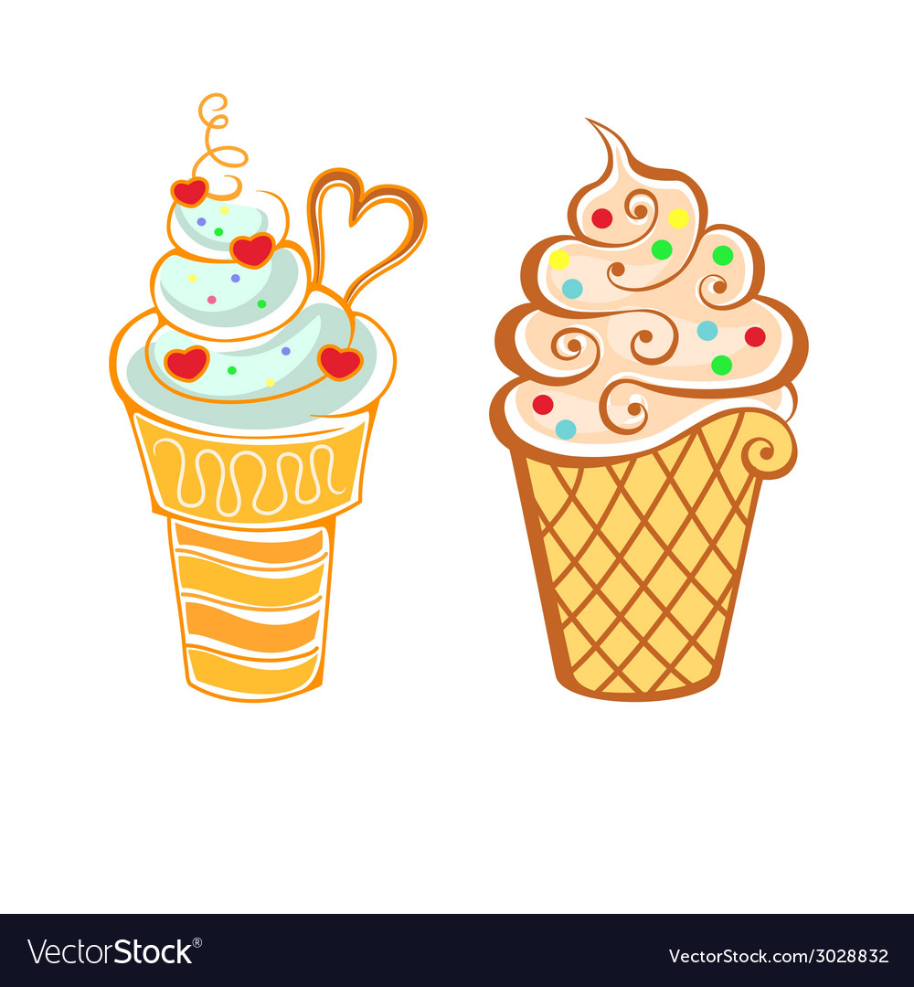 Ice cream in cartoon style vector | Price: 1 Credit (USD $1)