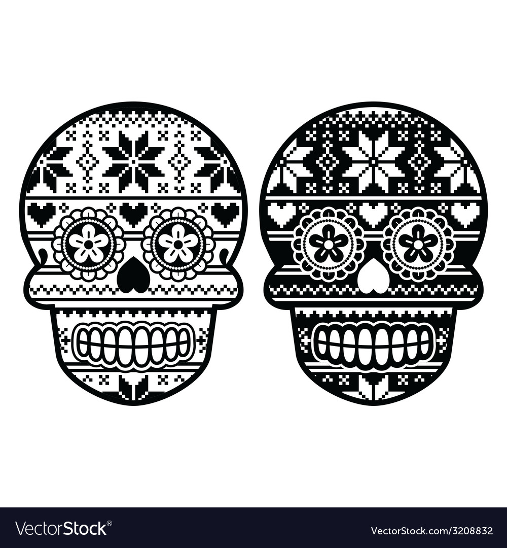 Mexican black sugar skull with winter pettern vector | Price: 1 Credit (USD $1)