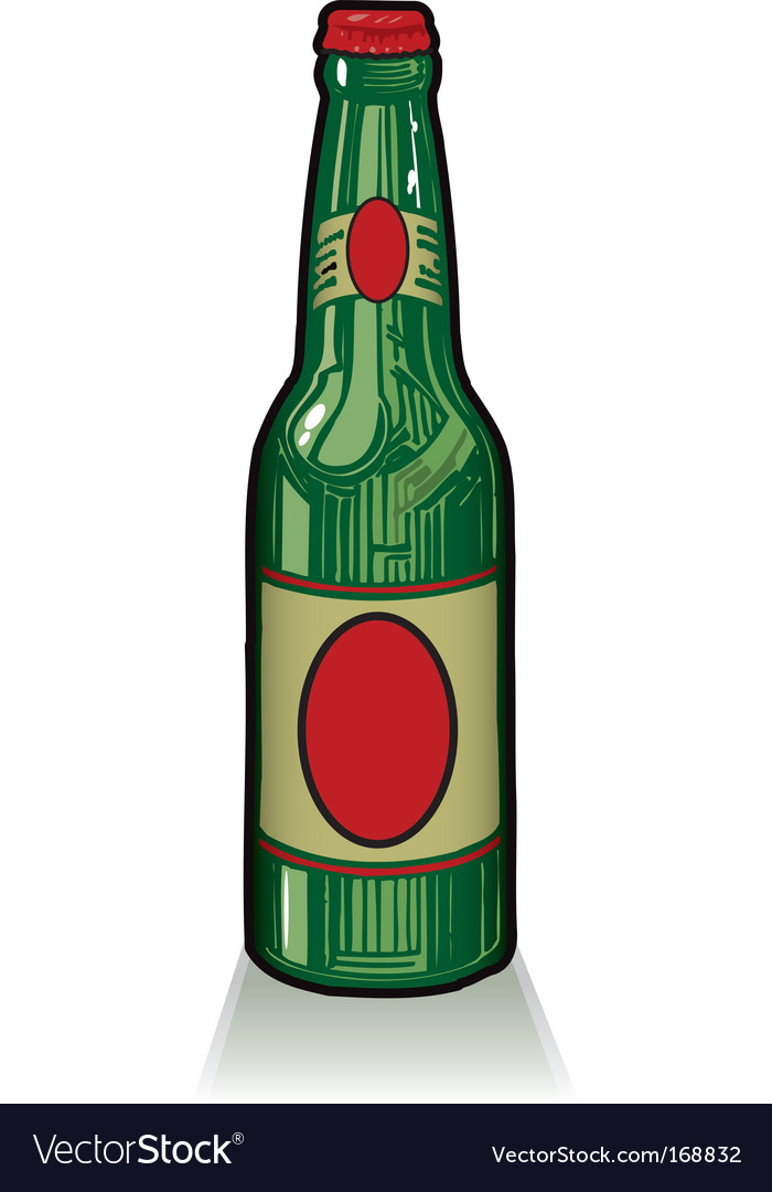 Old style green beer bottle vector | Price: 1 Credit (USD $1)