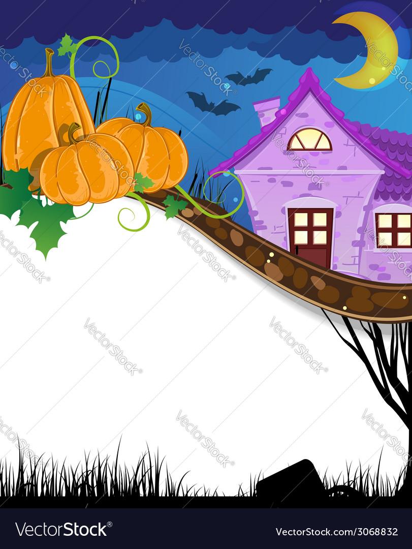 Pumpkins near the brick house vector   Price: 1 Credit (USD $1)