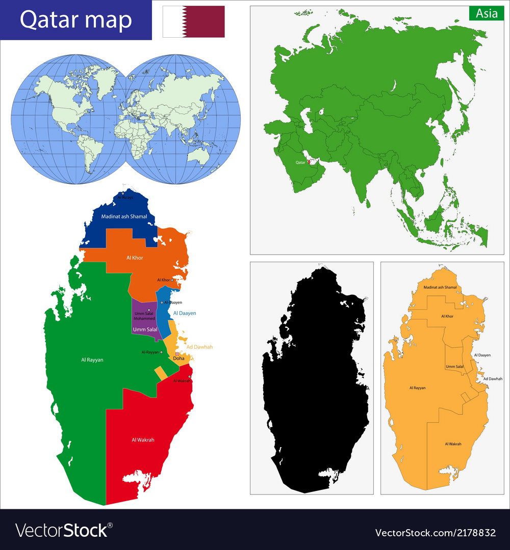 Qatar map vector | Price: 1 Credit (USD $1)