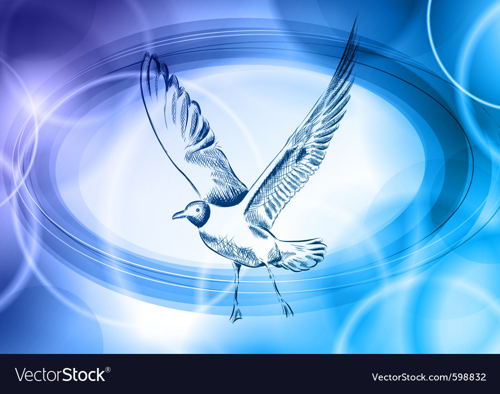 Seagull on the blue background vector | Price: 1 Credit (USD $1)